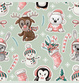 seamless pattern with cute baby animals vector image vector image