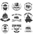 set of steak house emblems bbq and grill vector image