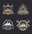 set of vintage camping outdoor adventure emblems vector image