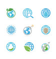 set world logo combination planet and earth vector image