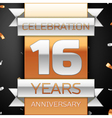 Sixteen years anniversary celebration golden and vector image vector image