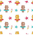 summer seamless pattern with funny bear vector image vector image