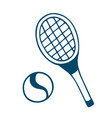 tennis racket icon in doodle style isolated on vector image vector image