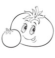 tomato character with big eyes outline drawing vector image vector image