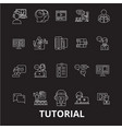 tutorials editable line icons set on black vector image vector image