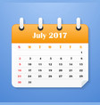 usa calendar for july 2017 week starts on sunday vector image vector image
