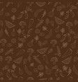 white outline vegetables seamless pattern on brown vector image vector image