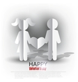 White paper Men and Woman with heart on red vector image vector image