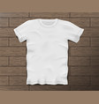 white realistic male t-shirt with short sleeves vector image