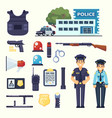 police professional equipment set handcuffs vector image