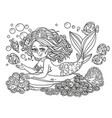 beautiful mermaid girl lies on a rock outlined vector image