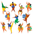 brazilian samba dancers capoeira drumme carnival vector image