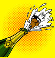 cork flies out of a bottle of champagne pop art vector image
