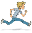 Running and hurrying teen boy vector image