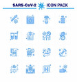 16 blue coronavirus disease and prevention icon vector image vector image