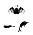 a variety of marine animals black icons in set vector image vector image