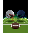 American Football Helmets and Ball Clashing vector image vector image