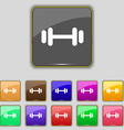 barbell icon sign Set with eleven colored buttons vector image vector image