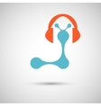 blue with headphones on white background vector image vector image