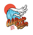 california surfing sea wave with lettering vector image vector image