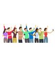 cartoon crowd happy characters people set vector image