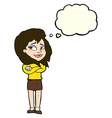 cartoon woman with crossed arms with thought vector image vector image