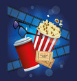 cinema entertainment with pop corn and soda vector image vector image