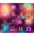 cinema line icons on the colorful background with vector image vector image
