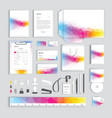 corporate identity design template with colorful vector image vector image