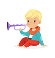 cute little blonde boy playing clarinet young vector image vector image