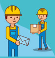 delivery men with a box and a envelope mail vector image vector image