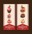 dessert flyer design with cupcake chocolate cake vector image vector image