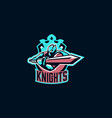 emblem a knight waving a sword paladin and vector image vector image