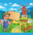 farmer with sign near windmill vector image vector image