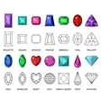 Gems and cut line set Different facets for vector image