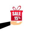 gift box on the hand with a 15 percent discount vector image vector image