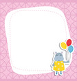 greeting card with cartoon hippo greeting card vector image