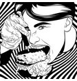 hand drawn of girl eating burger artwork in vector image
