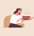 happy young woman receiving sweet chocolate cake vector image vector image
