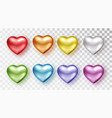 hearts set different colors realistic vector image vector image