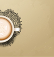 Hot Coffee cup on city background vector image vector image