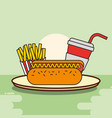 hot dog french fries and soda fast food vector image