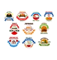 Japanese food and seafood restaurant emblems vector image