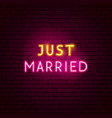 just married neon sign vector image vector image