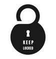 keep locked door tag icon simple style vector image vector image