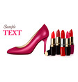 lipstick with shoe background vector image vector image
