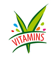 logo vitamins green leaves vector image