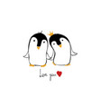 love card with couple of penguins vector image