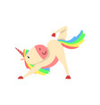 lovely funny unicorn character with rainbow mane vector image vector image