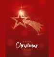 merry christmas gold glitter star greeting card vector image vector image